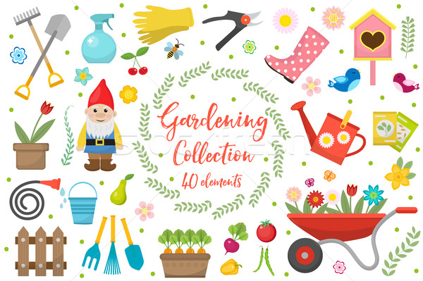 Stock photo: Gardening icons set, design elements. Garden tools and decor collection, isolated on a white backgro