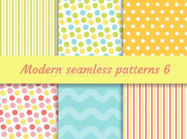 Polka dot, strips wave seamless pattern set. Digital Paper collection, modern style. Scrapbooking Ki Stock photo © lucia_fox