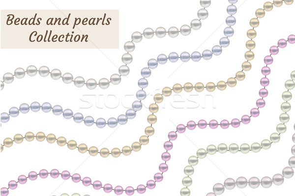 Realistic beads of pearls set. Collection borders jewelry decoration. Vector illustration. Stock photo © lucia_fox