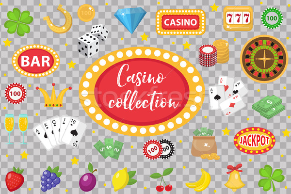 Casino Collection. Gambling set isolated on a white background. Poker, card games, one-armed bandit, Stock photo © lucia_fox