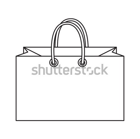 Shopping bag icon, doodle, line style. Colorful   sign symbol. Paper bags isolated on a white backgr Stock photo © lucia_fox