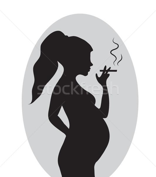 Femme enceinte cigarette enceintes femme fond fumée Photo stock © lucia_fox