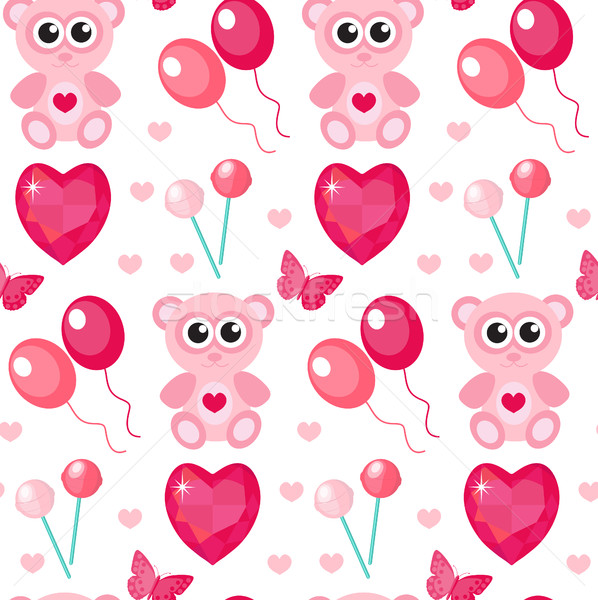 Stock photo: Cute seamless pattern Valentines day with teddy bear, balls, hearts. Love, romance, endless backgrou