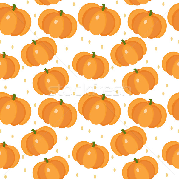 Pumpkin seamless pattern. Gourd, endless background, texture. Vegetable backdrop. Vector illustratio Stock photo © lucia_fox