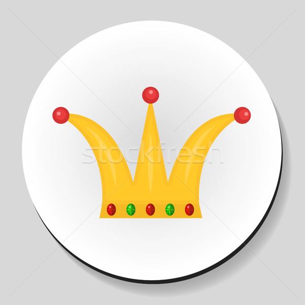 Altın taç etiket ikon stil arka plan Stok fotoğraf © lucia_fox