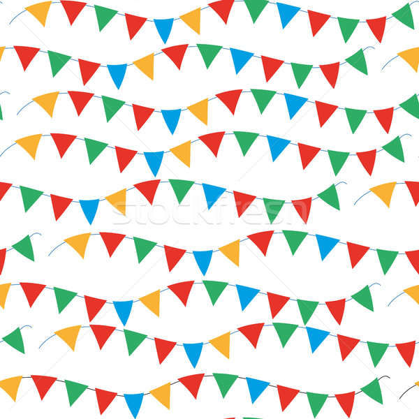 Kids, carnival seamless pattern with bunting, garlands. Bright festive background, texture with ribb Stock photo © lucia_fox