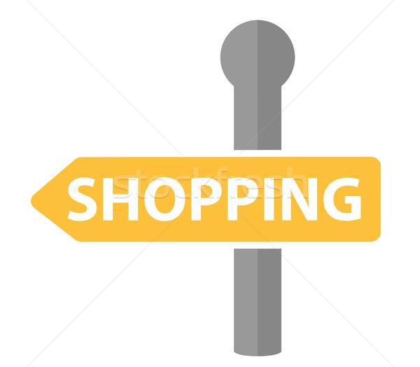 Kierunkowskaz napis zakupy ikona projektu znak drogowy Zdjęcia stock © lucia_fox