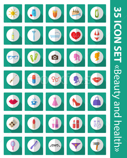 Vector set of flat icons beauty, fashion, health. Cosmetics and body care, 35 icons set. Stock photo © lucia_fox