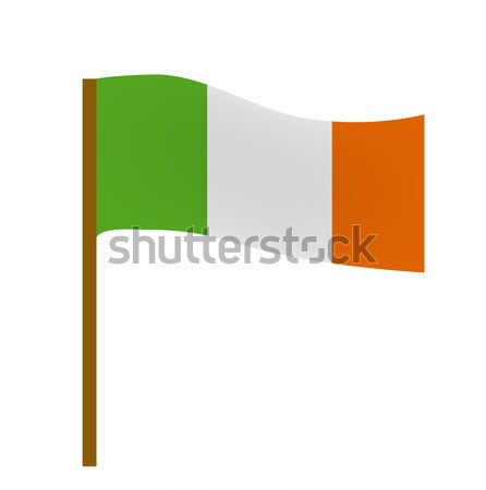Flag of Ireland, icon flat style. St. Patrick's Day symbol. Isolated on white background. Vector ill Stock photo © lucia_fox