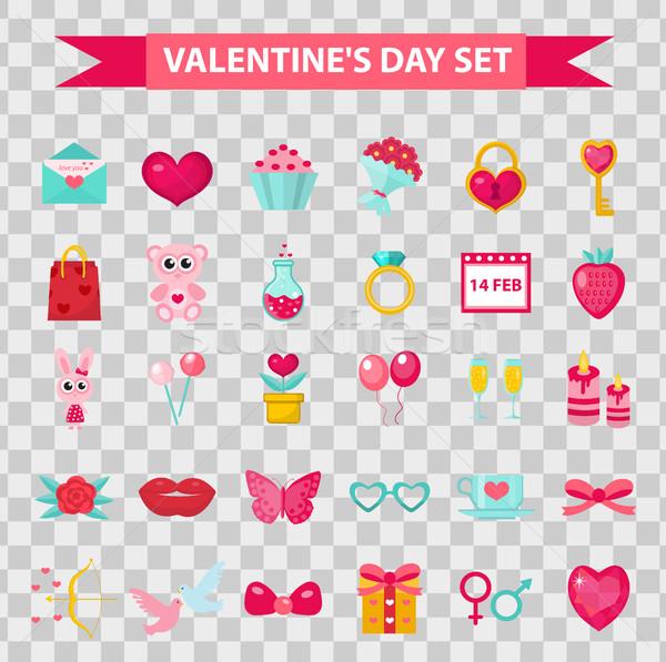 Foto stock: Día · de · san · valentín · iconos · estilo · aislado · transparente · boda