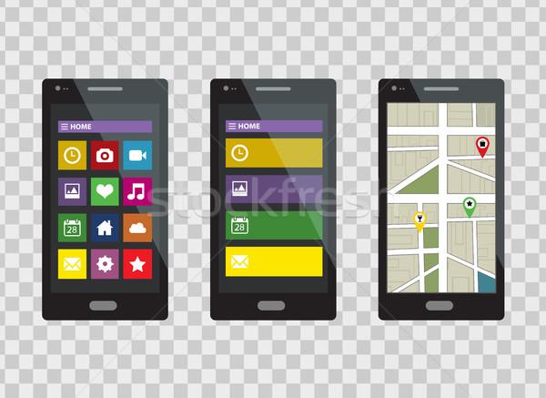Smartphone ingesteld geïsoleerd transparant technologie achtergrond Stockfoto © lucia_fox