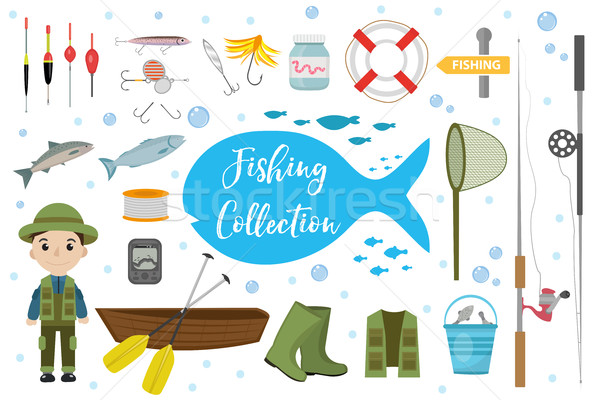 Fishing icon set, flat, cartoon style. Fishery collection objects, design elements, isolated on whit Stock photo © lucia_fox