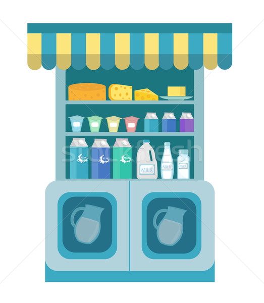 Milk products showcase, dairy shelf in the store. Supermarket,  department. Cheese and . Vector illu Stock photo © lucia_fox