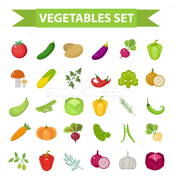 Vegetable icon set, flat, cartoon style. Fresh vegetables and herbs isolated on white background. Fa Stock photo © lucia_fox