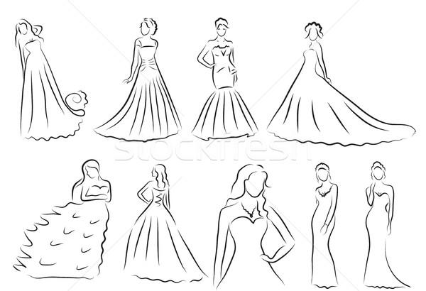Menyasszony sziluett szett rajz gyönyörű esküvői ruha Stock fotó © lucia_fox