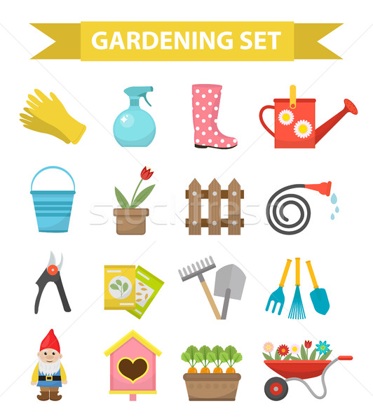 Gardening icon set, flat style. Garden and orchard collection tools decoration, isolated on white ba Stock photo © lucia_fox