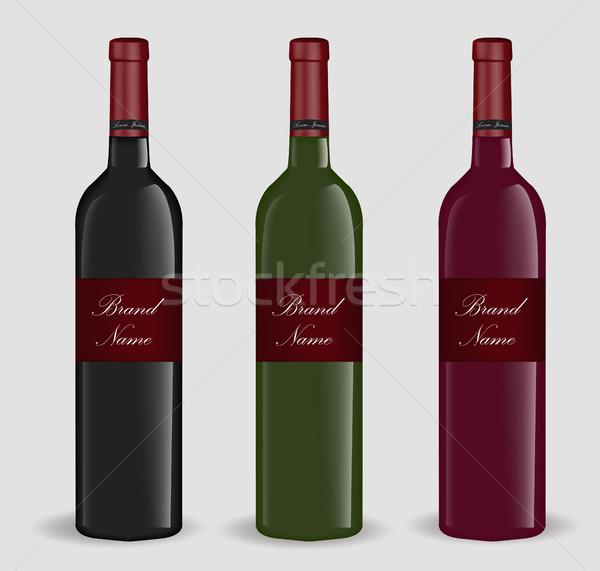 Realistic wine bottle set. Isolated on white background. 3d glass bottles mock-up. Vector illustrati Stock photo © lucia_fox