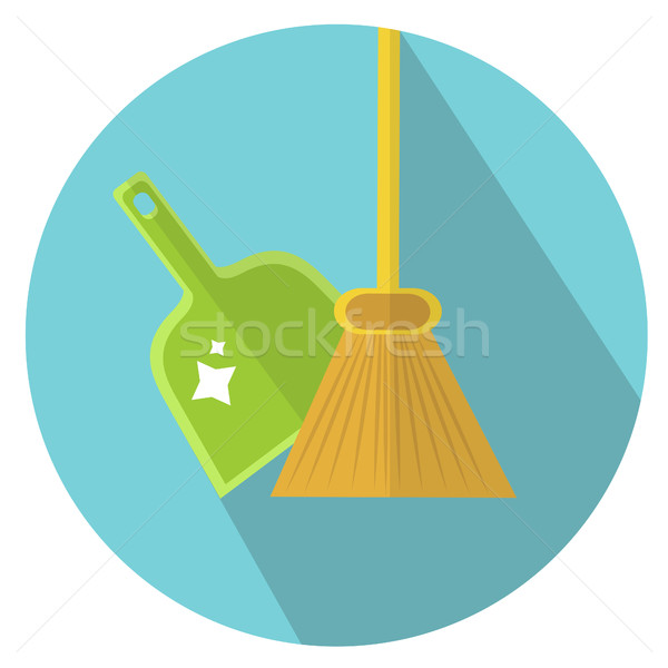 Schep bezem icon stijl schoonmaken huis Stockfoto © lucia_fox