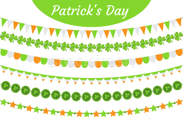 St. Patrick's Day garland set. Festive decorations bunting. Party elements, flags, shamrock, clover. Stock photo © lucia_fox