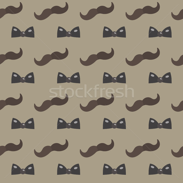 Mustache, Bow tie seamless patterns. Father's Day holiday concept repeating texture, endless backgro Stock photo © lucia_fox