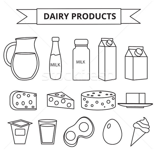 Dairy products icon set. Modern, line, outline style. Milk  isolated on white background.  and Chees Stock photo © lucia_fox