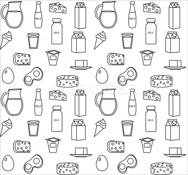 Dairy product seamless pattern. Modern, line, outline style. Milk products background.  and Cheese t Stock photo © lucia_fox