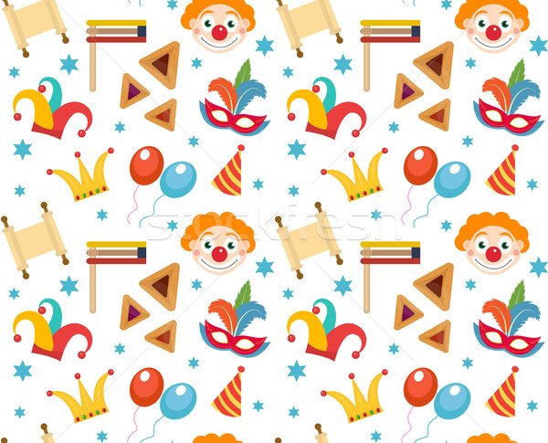 Purim seamless pattern with carnival elements. Happy  Jewish festival, , endless background, texture Stock photo © lucia_fox