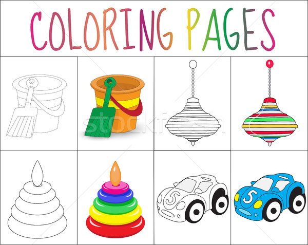 Coloring book page set. Toys collection. Sketch and color version.  for kids. Childrens education. V Stock photo © lucia_fox