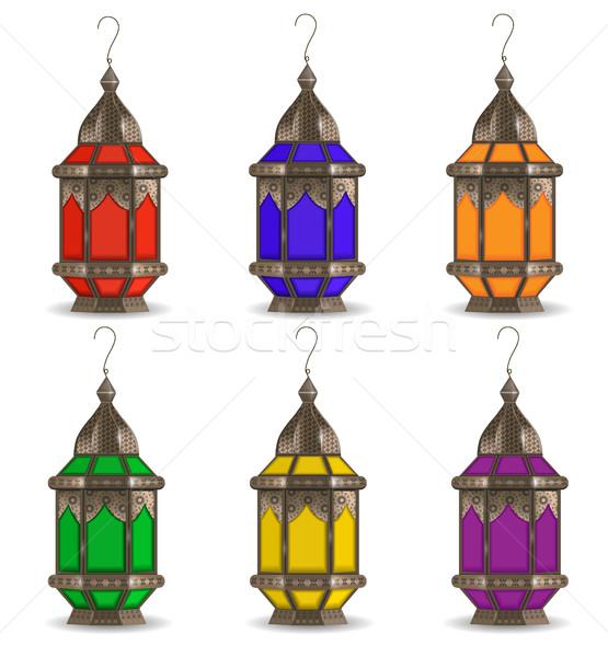 Ramadan conjunto lanternas isolado branco Foto stock © lucia_fox