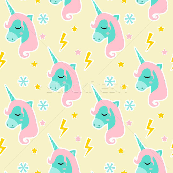 Magic Unicorn seamless pattern. Modern fairytale endless textures, magical repeating backgrounds. Cu Stock photo © lucia_fox