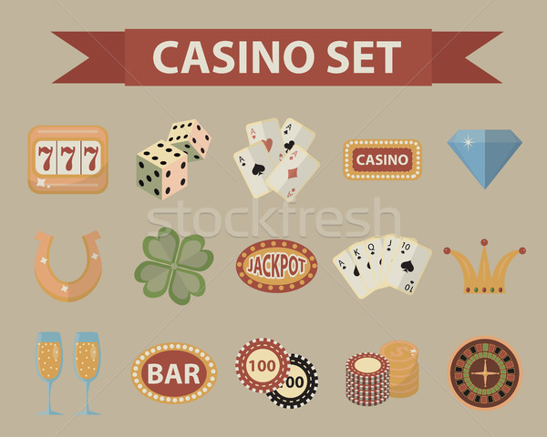 Casino icons, vintage style. Gambling set isolated on a white background. Poker, card games, one-arm Stock photo © lucia_fox