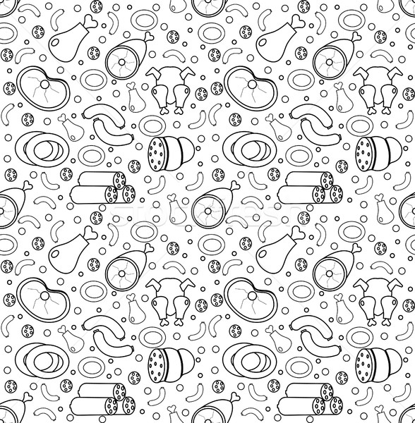 Meat products seamless pattern, modern line, doodle, sketch style. Meats and sausage endless backgro Stock photo © lucia_fox