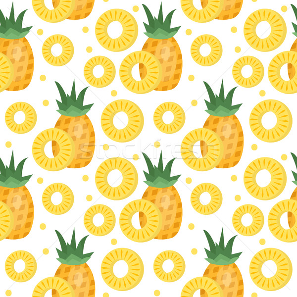 Pineapple seamless pattern. Ananas slices endless background, texture. Fruits . Vector illustration Stock photo © lucia_fox
