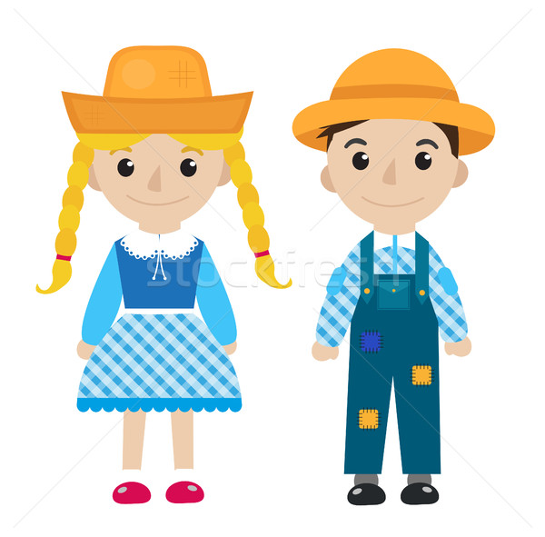 Festa Junina girl and boy in traditional festive costume icon flat, cartoon style. Isolated on white Stock photo © lucia_fox
