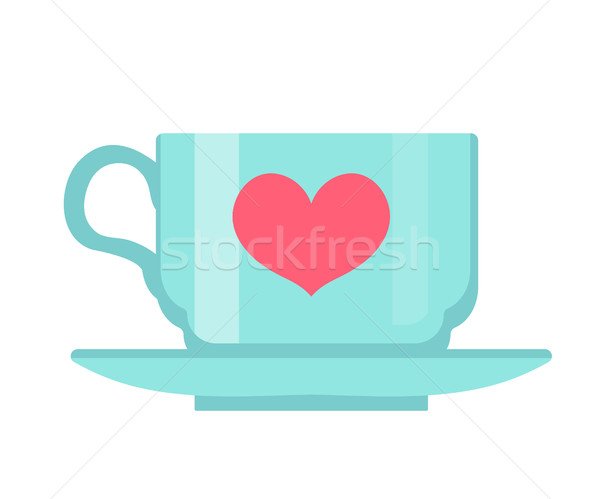 Cup with heart, flat design. Isolated on white background. Vector illustration, clip art. Stock photo © lucia_fox