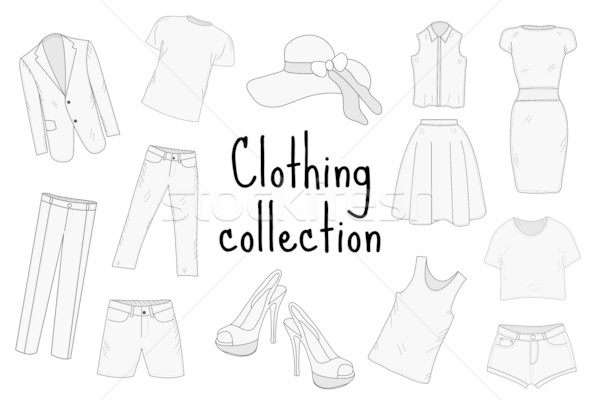 Clothing set hand drawing, sketch, doodle style. Apparel collection. Vector illustration. Stock photo © lucia_fox