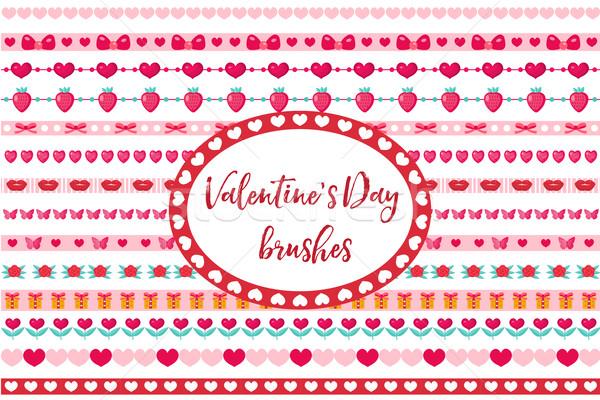 Stock fotó: Valentin · nap · keretek · szett · aranyos · szív · virágok