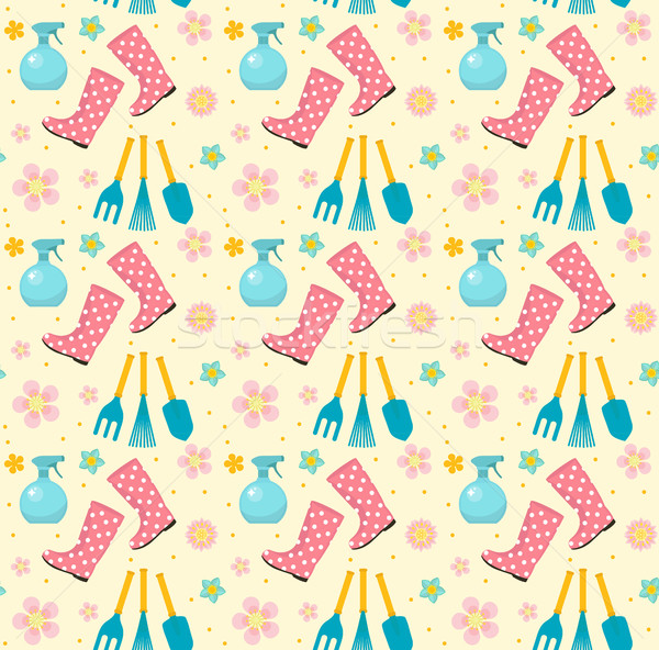 Gardening seamless pattern with garden tools. Spring endless backdrop. Horticulture texture, wallpap Stock photo © lucia_fox