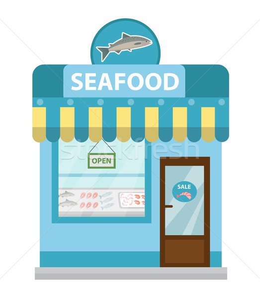 Frutos do mar compras edifício vetor ícone Foto stock © lucia_fox