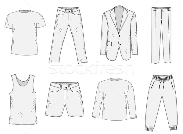 Clothing set sketch. Men's clothes, hand-drawing style. Business suit, jogging suit, T-shirt and sho Stock photo © lucia_fox