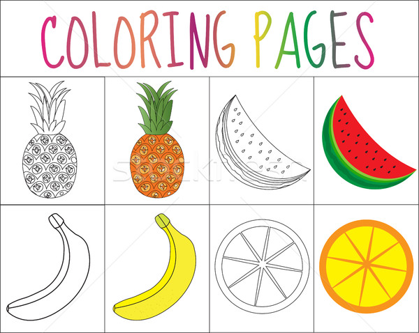 Coloring book, page set. Fruits collection. Sketch and color version.  for kids. Childrens education Stock photo © lucia_fox