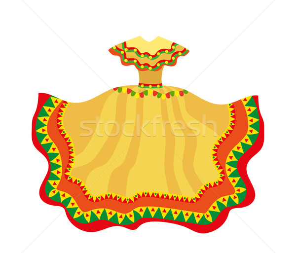 Mexican dress icon, flat style. Traditional Mexican female apparel. Isolated on white background. Ve Stock photo © lucia_fox