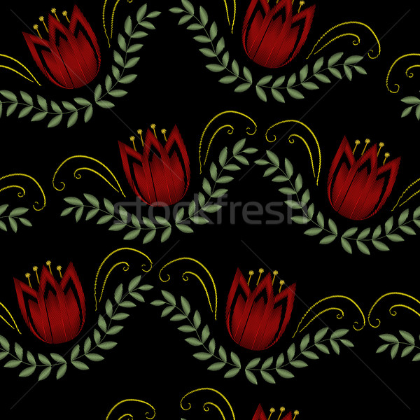 Embroidery trendy floral seamless pattern. Flowers ornament endless background, texture. Vector illu Stock photo © lucia_fox