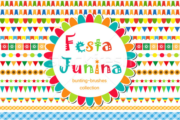 Festa Junina patterned set of brushes, bunting, flags. Festive decorations, border isolated on white Stock photo © lucia_fox