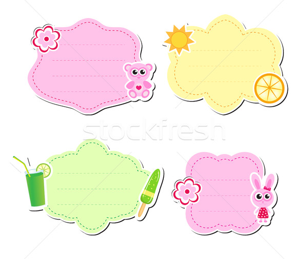 Cute kids frame for text, isolated on white background. Children s template. Baby . Vector illustrat Stock photo © lucia_fox