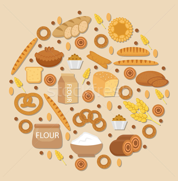 Bakery products icon set in a round shape, Flat style.  of different bread and pastry isolated on wh Stock photo © lucia_fox