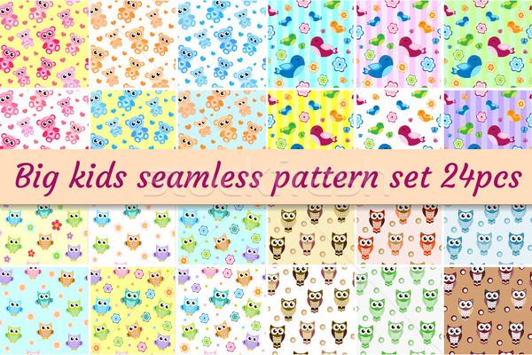 Kids seamless pattern big set. Children endless background with cute birds, owls, teddy bear. Baby t Stock photo © lucia_fox