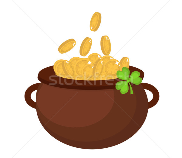 Cauldron with coins, icon flat style. St. Patrick's Day symbol. Isolated on white background. Vector Stock photo © lucia_fox