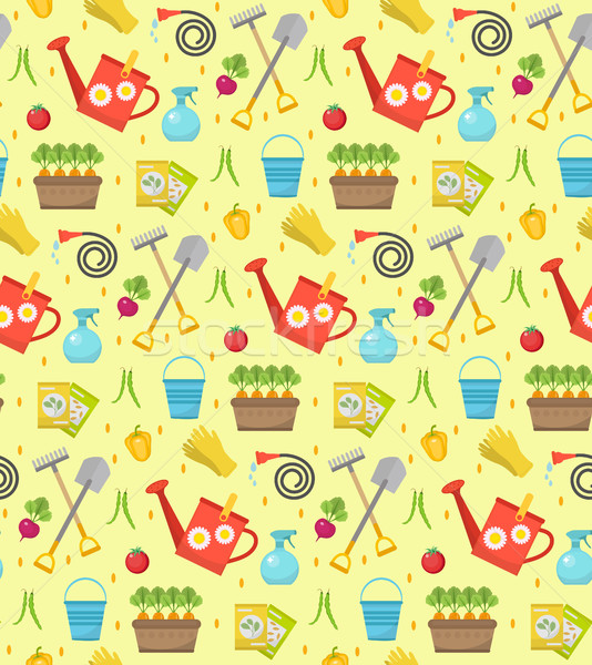 Stock photo: Gardening seamless pattern with garden tools. Spring endless backdrop. Horticulture texture, wallpap