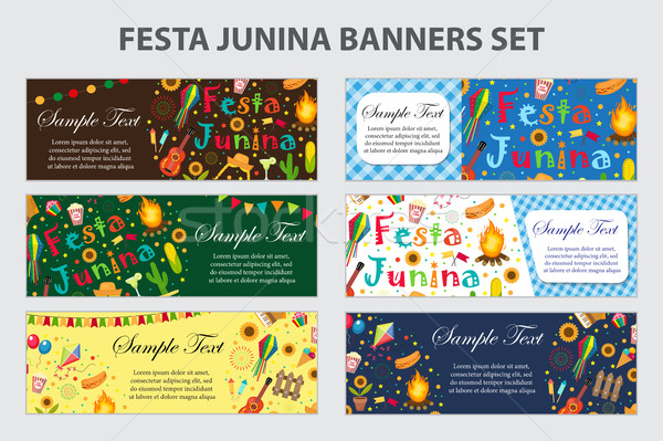 Festa Junina banner set with space for text. Brazilian Latin American festival template for your des Stock photo © lucia_fox